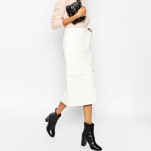 Asos Faux Leather Midi Pencil Skirt